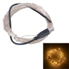 USB Powered 3W 250lm 3000K 50-SMD 0603 LED Warm White Light Strip - Silver + Black (DC 5V / 5M)