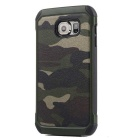 Protective PU + TPU Back Case Cover for Samsung Galaxy S6 - Camouflage Green