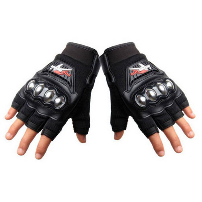 PRO-BIKER MCS-04F Motorcycle Half-Finger Gloves - Black (L / Pair)