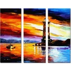 "Bizhen Frame-free Dusk Beacon Scenery Painting Canvas Wall Decor Murals 3 Panels(70.87""×59.06"")"
