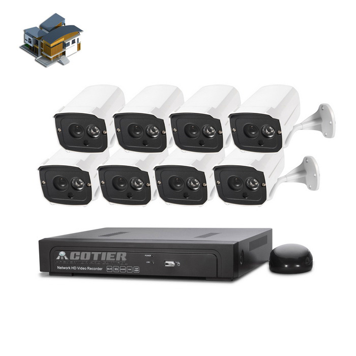 COTIER 8CH 1080P POE NVR 960P Kit de kits de cámara IP plug and play - blanco