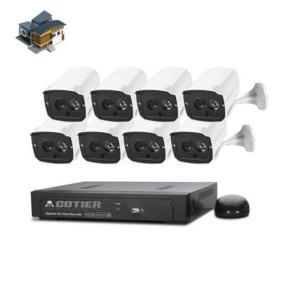 COTIER 8CH 1080P POE NVR 960P POE Plug and Play IP Camera Kits - White