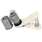LED 60X Mobile Phone Microscope Magnifier UV Currency Detector -Silver