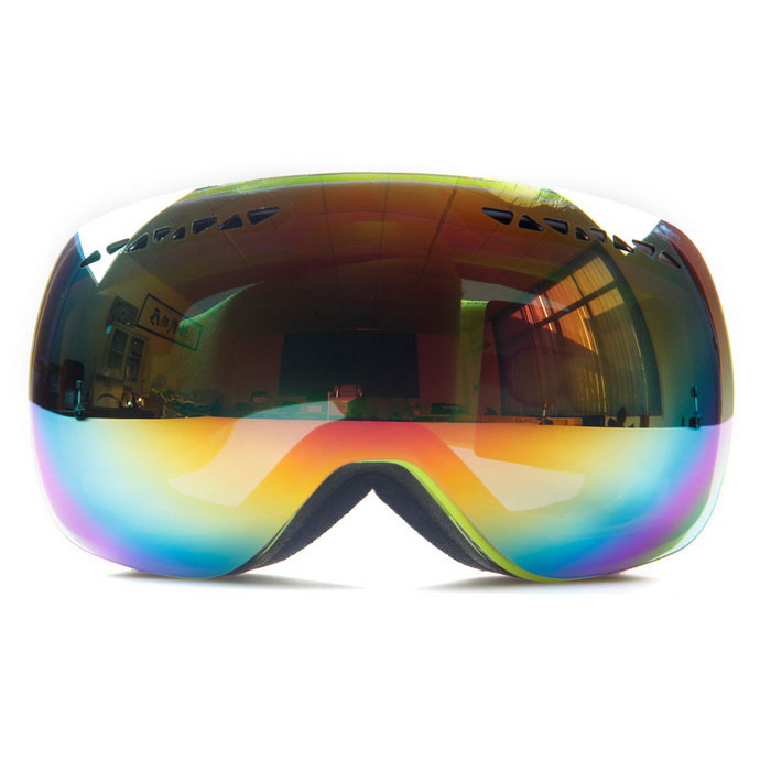 TPU Frame PC Lens UV400 Protection Sport Skiing Goggles - Black