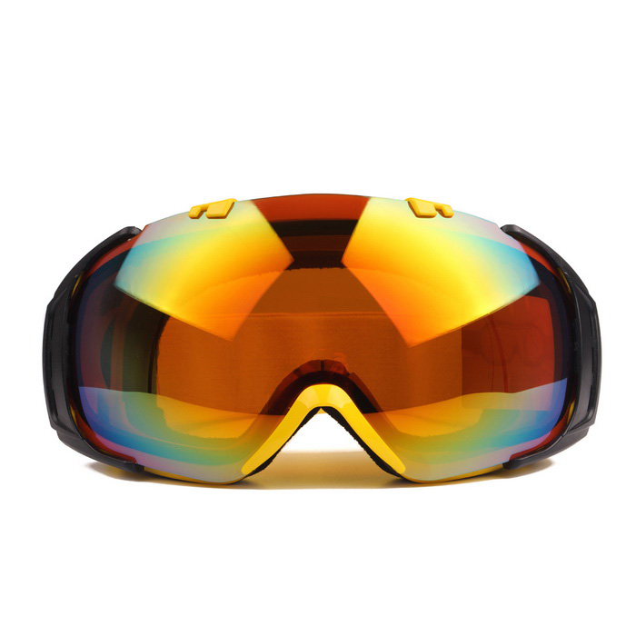TPU Frame PC Lens UV400 Protection Sport Skiing Goggles - Red + Yellow