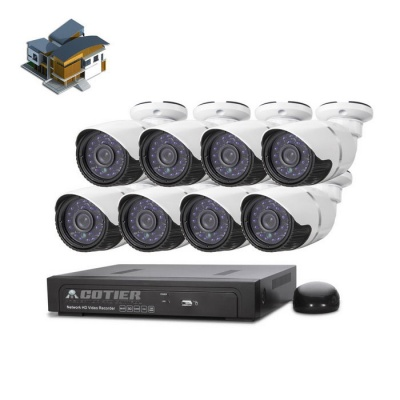 COTIER 8-CH POE NVR Kits 960P IP Camera Support POE P2P - White