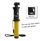Brilink ST09 Mini Wired Control Retractable Selfie Monopod w/ Mirror for Cellphone - Yellow + Black