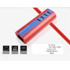 4-USB US Spine prova di fuoco Power Adapter Materiale - rosso + blu scuro