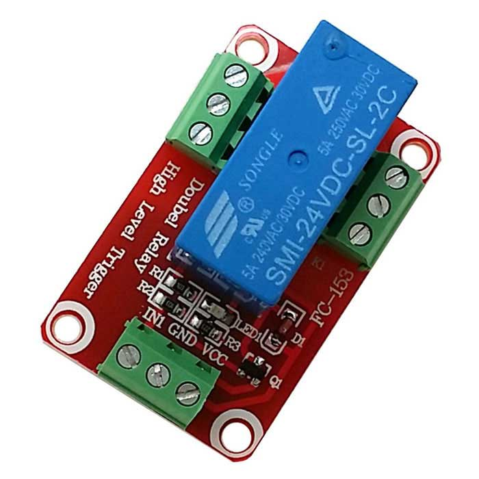 1-Channel 24V High Level Dual Power Relay Module - Red + Blue