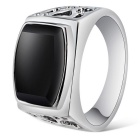 Xinguang Men's Cool Fashion Hollow Ring - Black + Silver (US Size 10)