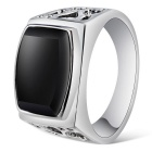 Xinguang Men's Cool Fashion Hollow Ring - Black + Silver (US Size 9)