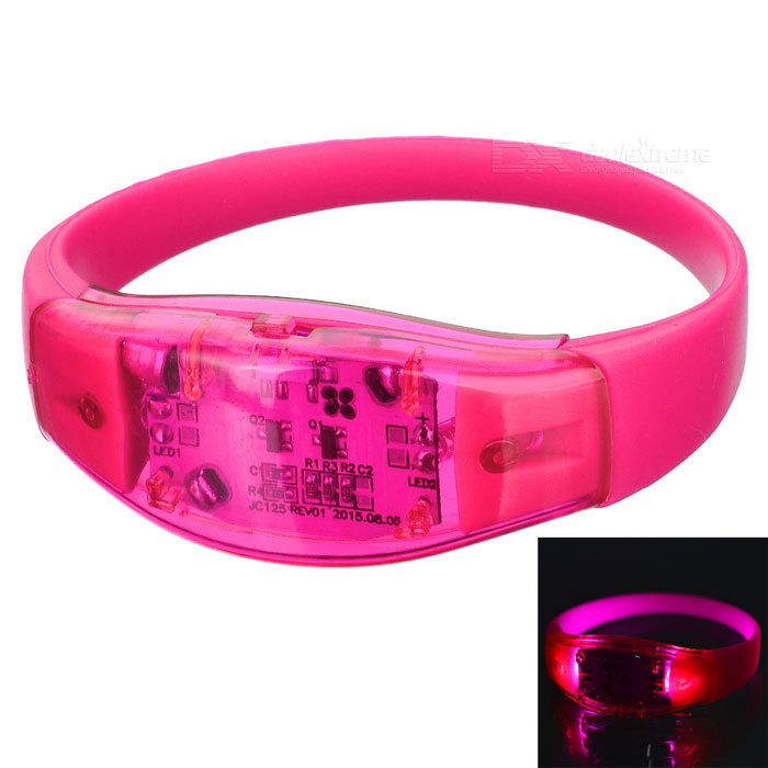 Men's Armband / Leg Band Silicone Warning Light Bracelet - Dark Pink