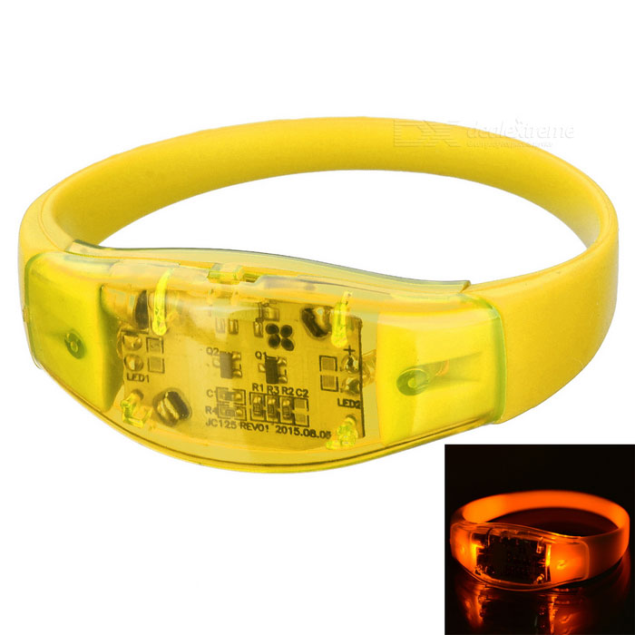 Men's Armband / Leg Band Warning Light Bracelet - Light Yellow