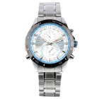 CURREN Men's Fashion Stainless Steel Wristband Waterproof Analog Quartz Watch - Silver + White