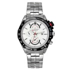 CURREN Men's Fashion Stainless Steel Band 3 Decorative Sub-dials Analog Quartz Watch - Silver+White