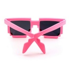 Unisex Anti-UV Mosaic Style PC Frame AC Lens Sunglasses - Pink + Grey