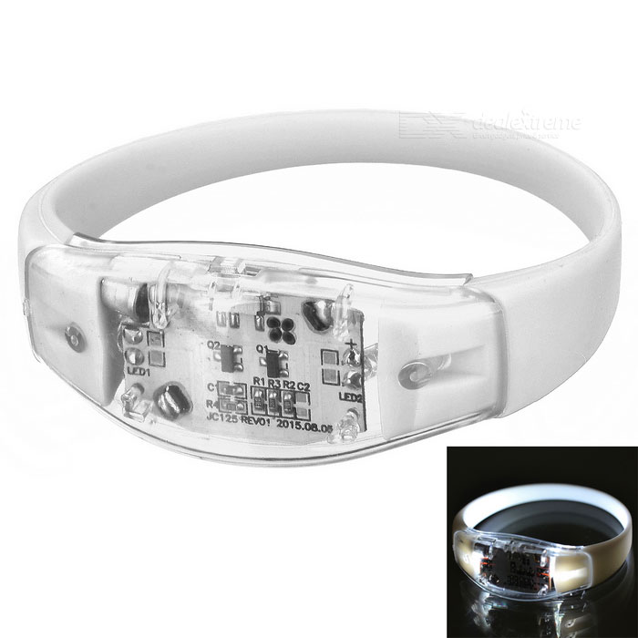 Sports Armband / Leg Band Silicone Warning Light Bracelet - White