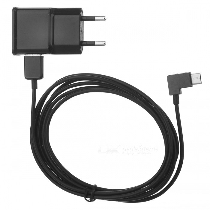 2A USB US Plugss Charger + 2m USB 3.1 Type C Data Charging Cable - Black