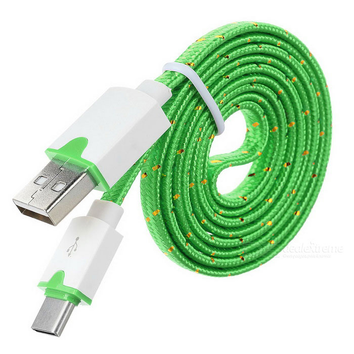 USB 2.0 to USB 3.1 Type C Flat Data Charging Cable - Green (1m)