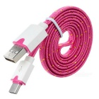 USB 2.0 to USB 3.1 Type C Flat Braided Data Sync / Charging Cable - Deep Pink (100cm)