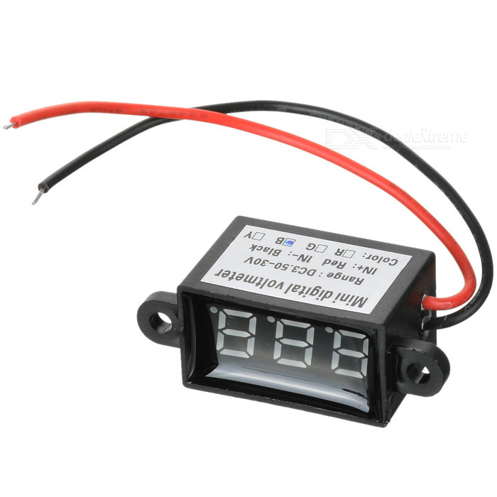 "Car Motorcycle 2 Wires 3-Digit 1"" Blue Light Digital Voltmeter"