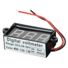 "Car Motorcycle 2 Wires 3-Digit 1.7"" Red Light Digital Voltmeter"