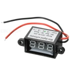 Car Motorcycle Electromobile 2 Wire 3-Digit Green Light Digital Voltmeter - Black (3.5~30V)