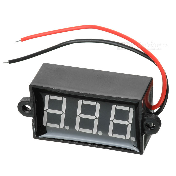 "Car Motorcycle 2 Wires 3-Digit 1.7"" Green Digital Voltmeter"