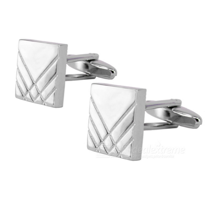 Oblique Lines Design Jewelry Brass Cufflinks - Silver (Pair)