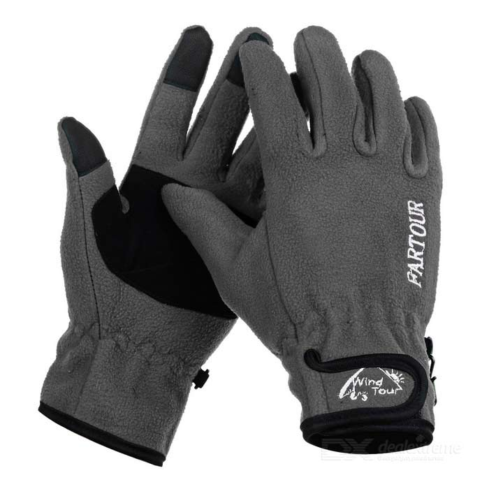 Wind Tour WT073004 Outdoor Cycling Anti-Slip Warm Touch Screen Full Finger Gloves - Grey (M / Pair)