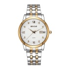 Wei Qin Men's Fashion Casual Stainless Steel Band Business Quartz Watch w/ Calendar - Gold + White