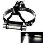 3-Mode 1-XP-E + 6-LED Headband Flashlight Cool White - Dark Grey + Black