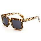 Unisex Anti-UV Cute Mosaic Style PC Frame AC Lens Polarized Sunglasses - Leopard Print Black