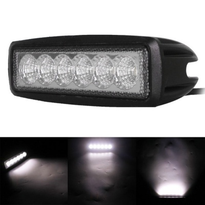 18W 6-LED White Flood Beam Work Light Bar Off-Road Light (10~30V)