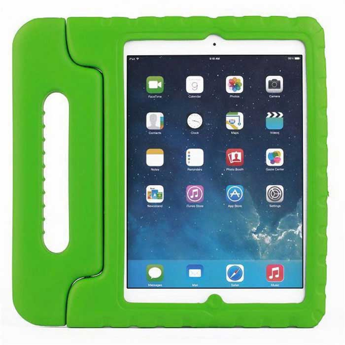 Protective Silicone Back Cover Case w/ Stand for IPAD AIR - Green