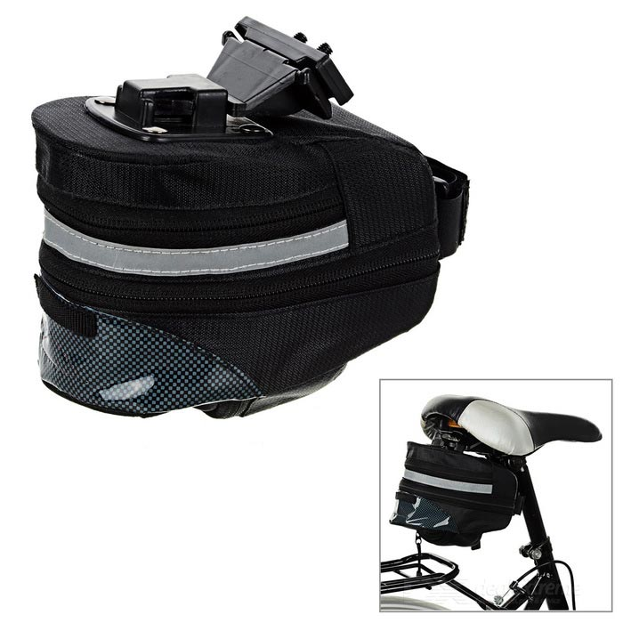 CTSmart Bike Bicycle Saddle Seat Tail Bag w/ Reflective Strip - Black