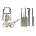 Mini slotted transparent padlock + single lock pick set