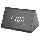 SoaringE White Light Triangle Wooden LED Clock w/ Alarm Clock / Temperature - Black