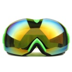 Fashionable TPU Frame PC Lens UV400 Protection Anti-Fog Sport Skiing Goggles - Green + Red