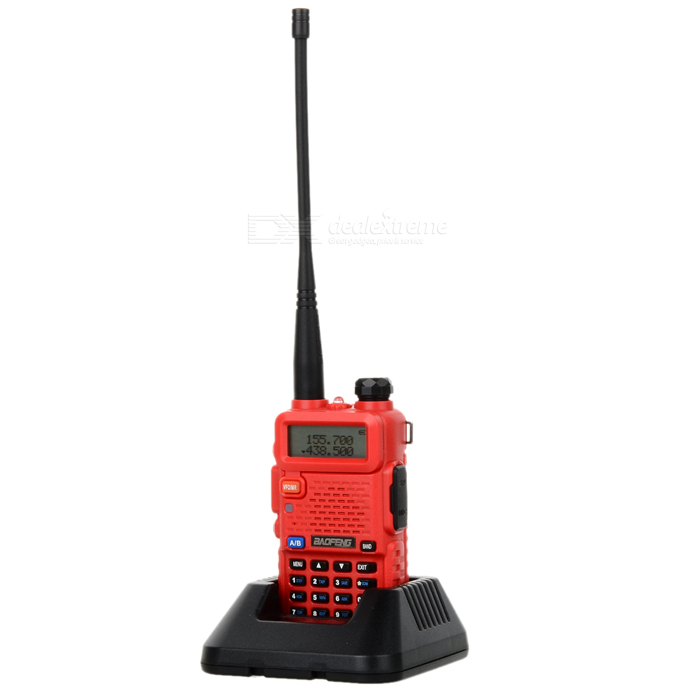 BAOFENG BF-UV5R 1.5 LCD 5W 128-CH UV Dual-Band Walkie Talkie - RedWalkie Talkies<br>Form ColorRedModelBF-UV5RQuantity1 DX.PCM.Model.AttributeModel.UnitMaterialPlastic + metalFrequency Range136~174MHz, 400~520MHzChannel128Frequency Stability2.5 DX.PCM.Model.AttributeModel.UnitOutput Power5 DX.PCM.Model.AttributeModel.UnitWorking Voltage   7.4 DX.PCM.Model.AttributeModel.UnitWorking Distance3~10kmEncryptionCTCSS,DCSBattery Capacity1800 DX.PCM.Model.AttributeModel.UnitStandby Time72 DX.PCM.Model.AttributeModel.UnitWorking Time12 DX.PCM.Model.AttributeModel.UnitOther FeaturesLCD screen: 1.5Packing List1 x Walkie talkie1 x Battery1 x Antenna1 x US plug 100~240V charger (100cm-cable)1 x Charging station1 x Strap1 x Waist clip1 x English user manual1 x Data cable (98cm)1 x CD1 x Microphone1 x Car charging cable (40~130cm)1 x Earphone (100cm)<br>