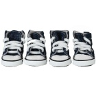 Unique Comfortable Anti-Slip Canvas + Rubber Pet Dog Shoes - Blue + White (4PCS)