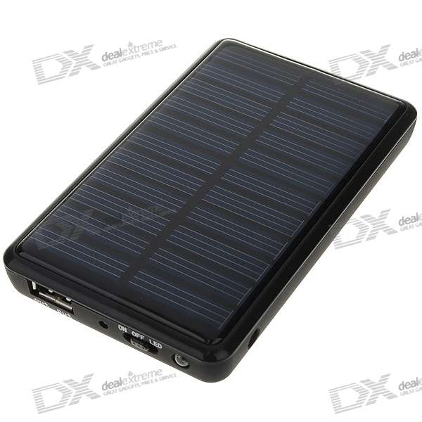 Solar Powered 2000mAh Rechargeable Portable Emergency Power with Phone Adapters + LED White Light