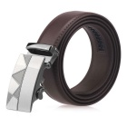 Men's Automatic Buckle Split Leather Belt - Brown (125cm)