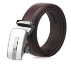 Fanshimite Men's Automatic Buckle Split Leather Belt - Brown(125cm)