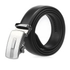 Fanshimite Men's Automatic Buckle Split Leather Belt - Black(110cm)