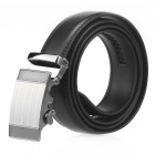Fanshimite Men's Automatic Buckle Split Leather Belt - Black (125cm)