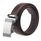 Men's Split Leather Floor Automatic Buckle Belt - Brown (115cm)