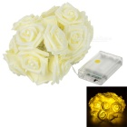 Decorativas de Natal estilo rosas 1.5W 2-Mode 20-LED quente luz branca string luz - off-white (4.5V)