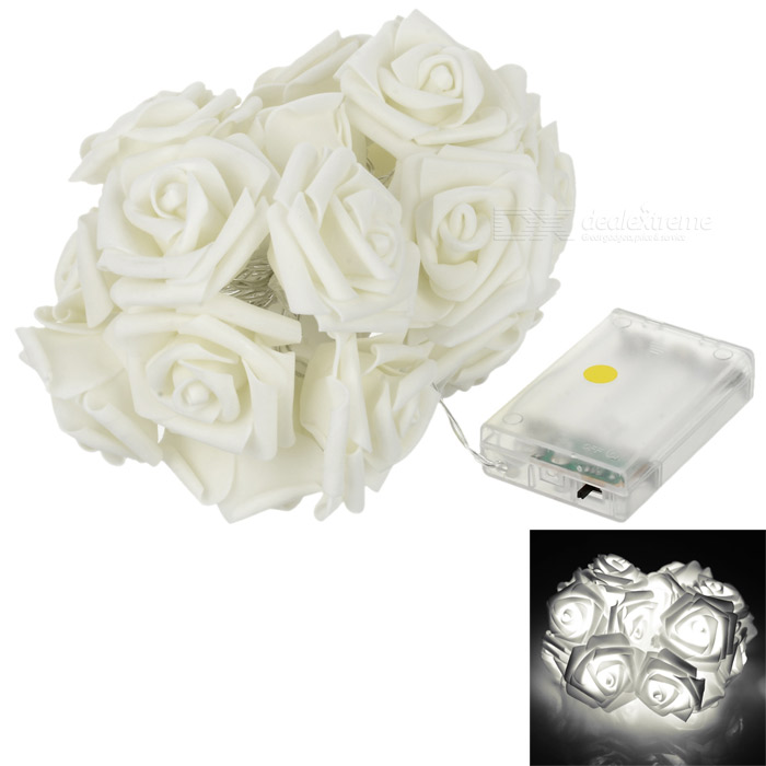 Christmas Roses Style 2-Mode 20-LED White Light String Light - WhiteChristmas Gadgets<br>Form Coloroff-white MaterialPVCQuantity1 DX.PCM.Model.AttributeModel.UnitSuitable holidaysChristmas,UniversalTotal Emitters20Emitter BINLEDColor BINNeutral WhitePower1.5 DX.PCM.Model.AttributeModel.UnitRate Voltage4.5VPower AdapterOthers,3 x AA(not included)Other FeaturesTwo light modes: steady + strobe; Size: 2m(+/-5%); Bulb: 20 x 5mm LED; LED space: 10cmPacking List1 x Light string<br>