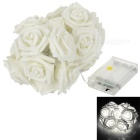 Christmas Decorative Roses Style 1.5W 2-Mode 20-LED White Light String Light - Off-white (4.5V)